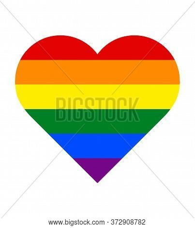 Vector Image Of A Lgbtq In Heart Shape. Pride Symbol In Heart Shape. Rainbow Flag, The Most Widely K