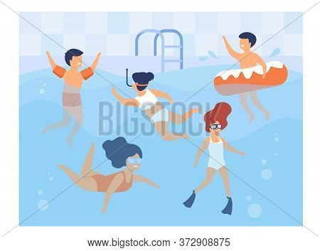 Happy Kids Swimming In Pool. Children In Swimwear Enjoying Bathing In Water, Diving, Floating With I