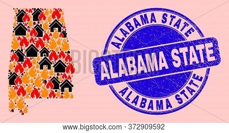 Fire Hazard And Houses Combination Alabama State Map And Alabama State Corroded Watermark. Vector Co