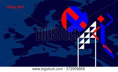 Volleyball Player Bounces The Ball Against A Background Of A Map Of Europe. Abstract Wallpaper In Re