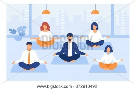 Office People Practicing Yoga And Meditation. Managers Exercising And Meditating In Lotus Pose Durin