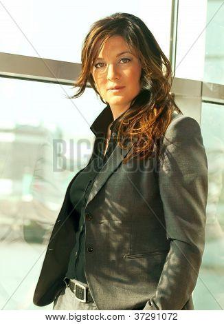 Busineeslady In Grey Pantsuit Portrait