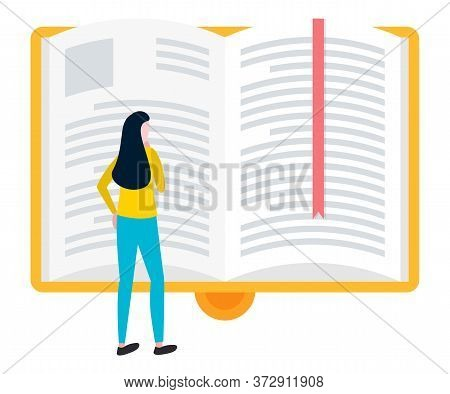 Woman Reading Big Open Book With Bookmark, Knowledge Source And Literature. Vector E-learning Concep
