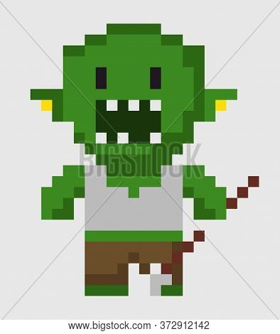 Pixel Character Vector, Zombie With Weapon, Isolated Green Troll With Scary Look And Angry Face, Fri