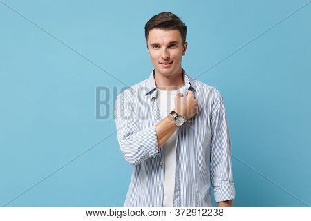 Smiling Young Man Guy 20s In Casual Clothes Posing Isolated On Pastel Blue Background Studio Portrai