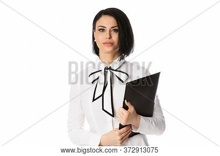 Business Woman With Black Folder, Isolated On White. Concept Of Leadership And Success