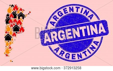 Fire And Realty Collage Argentina Map And Argentina Corroded Seal. Vector Collage Argentina Map Is C
