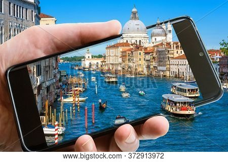 Venice View With Smartphone, Italy. Grand Canal Is Tourist Attraction Of Venice. Amazing Photography