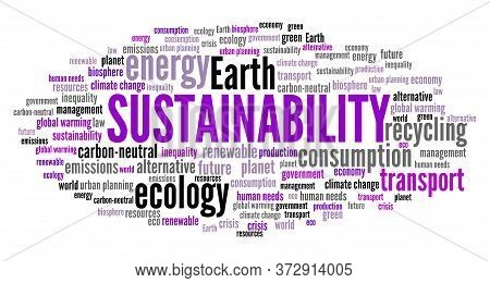 Sustainability Word Cloud Collage. Environmental Sustainability Text Concepts.