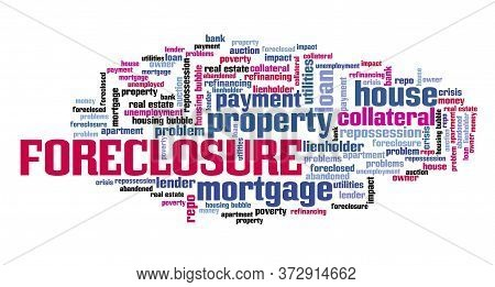 Home Foreclosure Concept. Real Estate Issues: Foreclosure Word Cloud Sign.