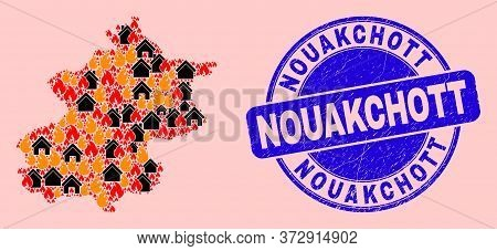 Fire And Realty Composition Beijing City Map And Nouakchott Scratched Stamp Print. Vector Collage Be
