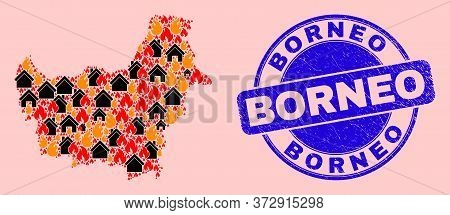 Fire Hazard And Houses Mosaic Borneo Map And Borneo Unclean Watermark. Vector Collage Borneo Map Is