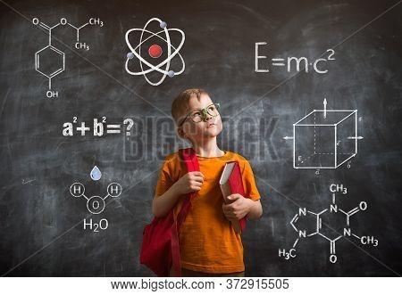 Kid Creativity Education Concept, Child Learning Art Mathematics Formula, School Boy Ideas On Black