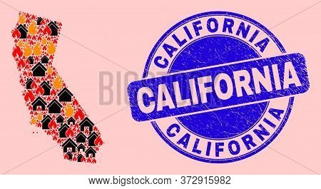 Fire Hazard And Property Combination California State Map And California Corroded Stamp. Vector Coll