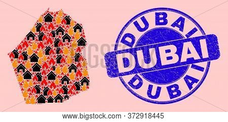 Fire Disaster And Property Collage Dubai Emirate Map And Dubai Corroded Stamp Seal. Vector Collage D