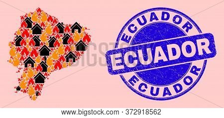 Fire Disaster And Buildings Collage Ecuador Map And Ecuador Textured Watermark. Vector Collage Ecuad
