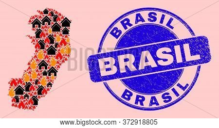 Fire Disaster And Homes Combination Espirito Santo State Map And Brasil Scratched Stamp Seal. Vector