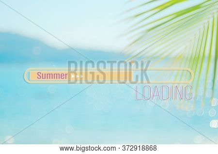 Hello Summer Words On Blur Tropical Beach With Bokeh Sunlight Wave Abstract Background. Summer Vacat