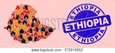 Fire Hazard And Homes Collage Ethiopia Map And Ethiopia Unclean Seal. Vector Collage Ethiopia Map Is