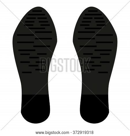 Imprint Of The Sole Of A Male Boot Isolated On White. Dark Soles Of Shoes And Heels. Vector Eps10.