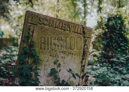 London, Uk - June 16, 2020: Close Up Of A Tombstone Inside Hampstead Cemetery, A Historic Cemetery I