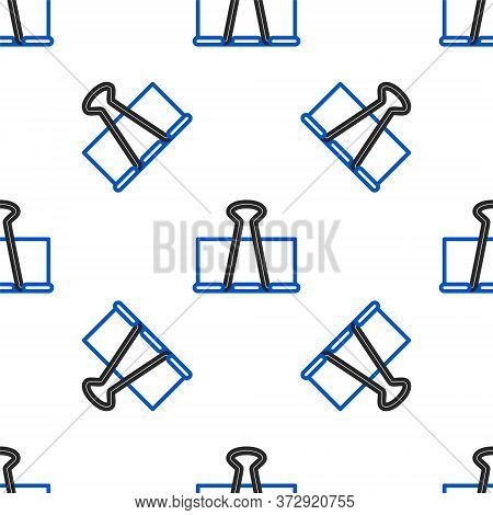 Line Binder Clip Icon Isolated Seamless Pattern On White Background. Paper Clip. Colorful Outline Co