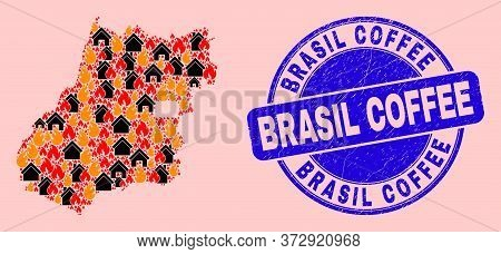 Fire Hazard And Property Collage Goias State Map And Brasil Coffee Textured Stamp Imitation. Vector