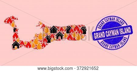 Fire Disaster And Homes Mosaic Grand Cayman Island Map And Grand Cayman Island Textured Stamp Imitat