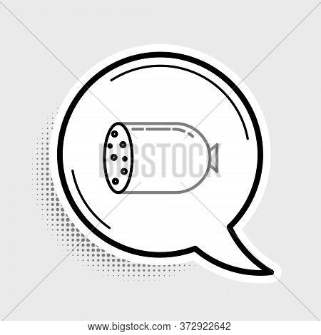 Line Salami Sausage Icon Isolated On Grey Background. Meat Delicatessen Product. Colorful Outline Co
