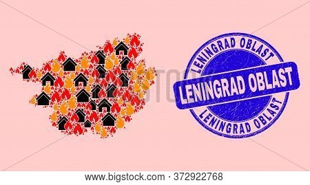 Fire And Houses Composition Guangxi Province Map And Leningrad Oblast Rubber Seal. Vector Collage Gu