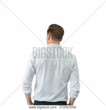 Back Of Business Blonde, White Man, Caucasian Person Standing Isolated In Fashion Design Concept On