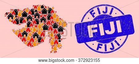Fire Hazard And Realty Collage Gujarat State Map And Fiji Rubber Stamp Print. Vector Collage Gujarat