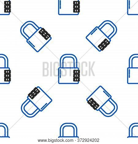 Line Safe Combination Lock Icon Isolated Seamless Pattern On White Background. Combination Padlock.