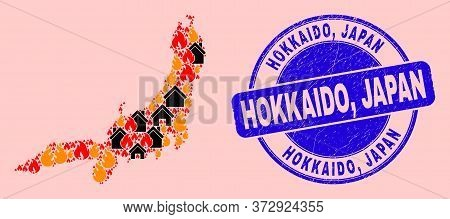 Fire Hazard And Houses Collage Honshu Island Map And Hokkaido, Japan Textured Seal. Vector Collage H