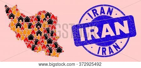 Fire Hazard And Realty Collage Iran Map And Iran Corroded Stamp Seal. Vector Collage Iran Map Is Des