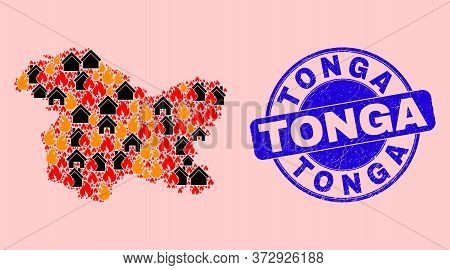 Fire Disaster And Houses Mosaic Jammu And Kashmir State Map And Tonga Grunge Seal. Vector Mosaic Jam