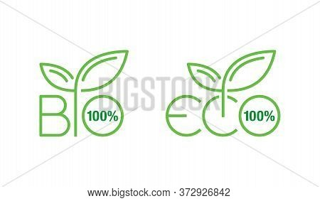 100 Bio And 100 Eco Sticker Set For Healthy Organic Food Products - Isolated Vector Icons