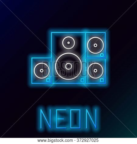 Glowing Neon Line Stereo Speaker Icon Isolated On Black Background. Sound System Speakers. Music Ico