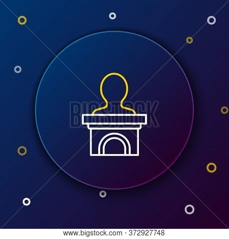Line Stage Stand Or Debate Podium Rostrum Icon Isolated On Blue Background. Conference Speech Tribun