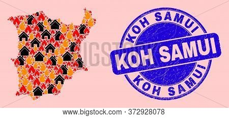 Fire And Houses Mosaic Koh Samui Map And Koh Samui Scratched Stamp. Vector Collage Koh Samui Map Is