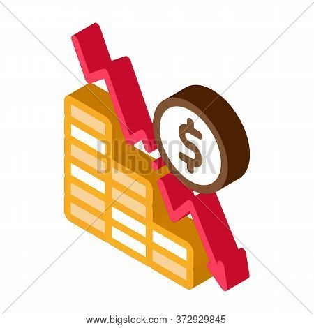 Monetary Decline Icon Vector. Isometric Monetary Decline Sign. Color Isolated Symbol Illustration