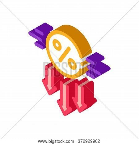 Falling Interest Down Icon Vector. Isometric Falling Interest Down Sign. Color Isolated Symbol Illus