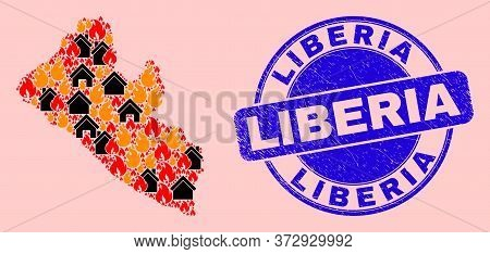 Fire And Houses Combination Liberia Map And Liberia Textured Watermark. Vector Collage Liberia Map I