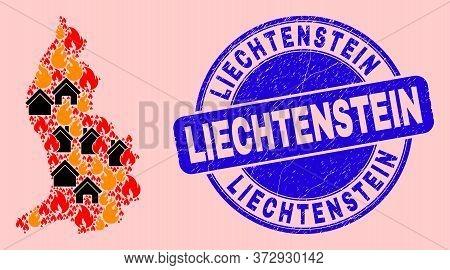 Fire Hazard And Property Mosaic Liechtenstein Map And Liechtenstein Scratched Watermark. Vector Mosa