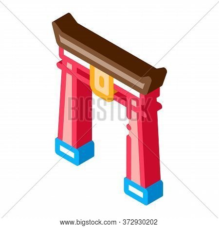 Chinese Arch With Columns Icon Vector. Isometric Chinese Arch With Columns Sign. Color Isolated Symb