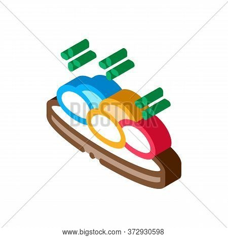 Round Stones On Wooden Board Icon Vector. Isometric Round Stones On Wooden Board Sign. Color Isolate