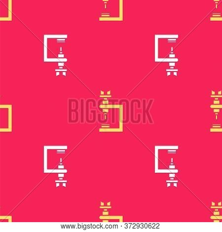Yellow Microscope Icon Isolated Seamless Pattern On Red Background. Chemistry, Pharmaceutical Instru
