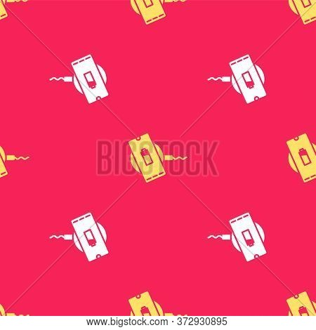 Yellow Smartphone Charging On Wireless Charger Icon Isolated Seamless Pattern On Red Background. Cha