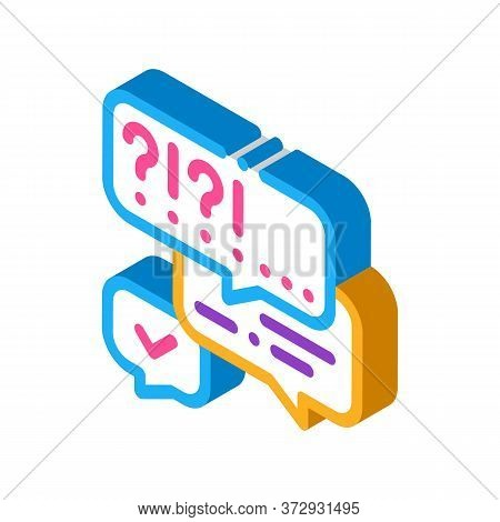 Many Questions And Answers Icon Vector. Isometric Many Questions And Answers Sign. Color Isolated Sy