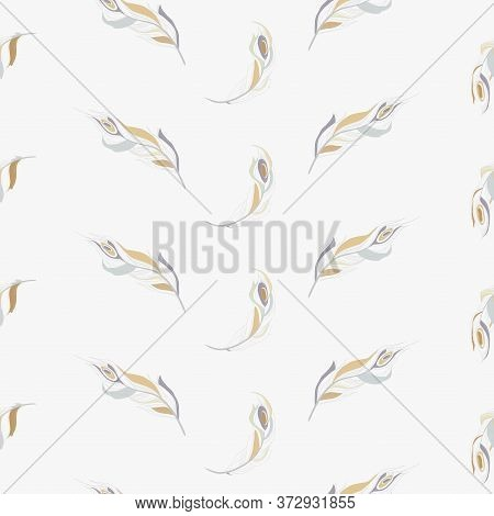 Seamless Pattern On A White Background With The Image Of A Bird Peacock Feathers, Full Graphic Manne